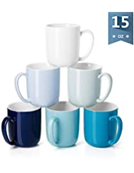 Sweese 6217 Porcelain Mugs for Coffee, Tea, Cocoa, 15 Ounce, Set of 6, Cold Assorted