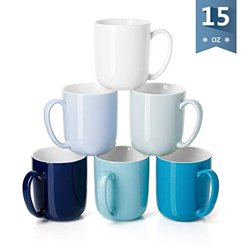 Sweese 6218 Porcelain Mugs for Coffee, Tea, Cocoa, 15 Ounce, Set of 6, Cold Assorted