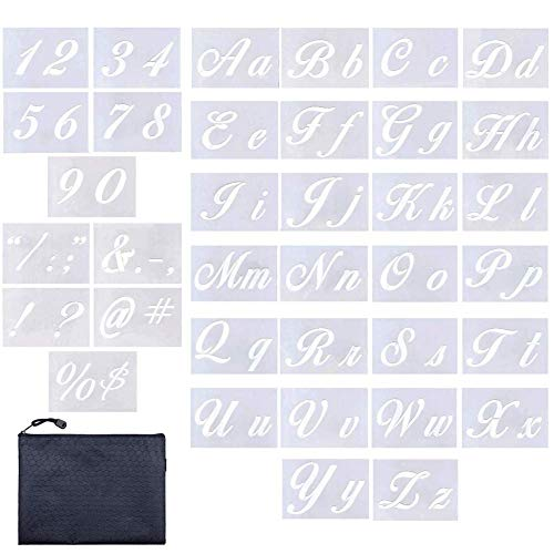 - Letter Stencils 36 Pieces | Contains 26 Calligraphy Upper and Lowercase Letters, Numbers, Symbols, Letter Stencils for Painting on Wood, Reusable Plastic Art Letter Stencils Kit, Size 8.27
