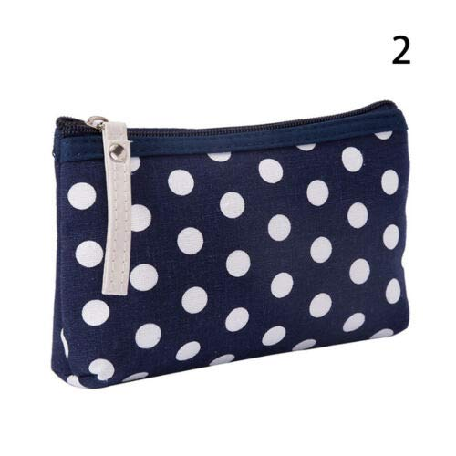 - Round Point Zipper Makeup Bags Travel Cosmetic Case Pouch Toiletry Wash Purse (Model - blue)