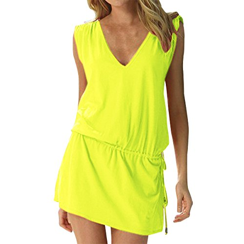 LAPAYA Women's Swim Beach Dress Deep V Neck Open-Back Beach Cover Up Beach Skirt, Yellow, 2-6