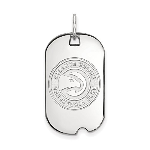 NBA Atlanta Hawks Small Dog Tag Pendant in 14K White Gold by LogoArt