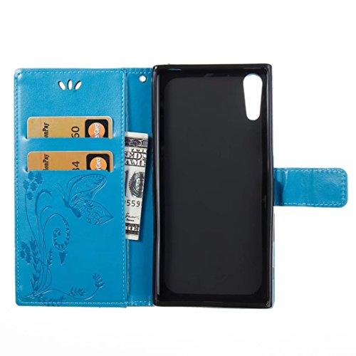 COWX Sony Xperia XZ Hülle Kunstleder Tasche Flip im Bookstyle Klapphülle mit Weiche Silikon Handyhalter PU Lederhülle für Sony Xperia XZ Tasche Brieftasche Schutzhülle für Sony Xperia XZ schutzhülle PWCRIxV