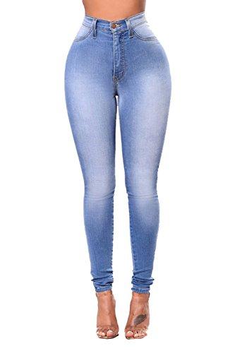 Vosujotis La Mujer Alta Wasit Jeans Skinny Denim Pantalones Leggings Tallas Grandes Azul
