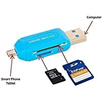 UNEQUETREND Universal Micro USB Sd Tf Card Reader with Micro USB OTG Adapter for All Smartphones, Laptop and PC (Colours May Vary) (Pack of 1)