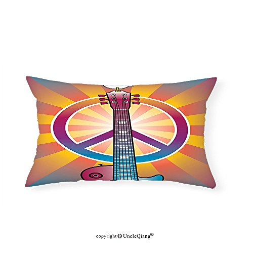 VROSELV Custom pillowcases1960s Decor Colorful Illustration of Guitar Peace Symbol and Dove Dedicated to the Woodstock Artsy Tribute Bedroom Living Room Dorm Decor - Woodstock Atlanta To