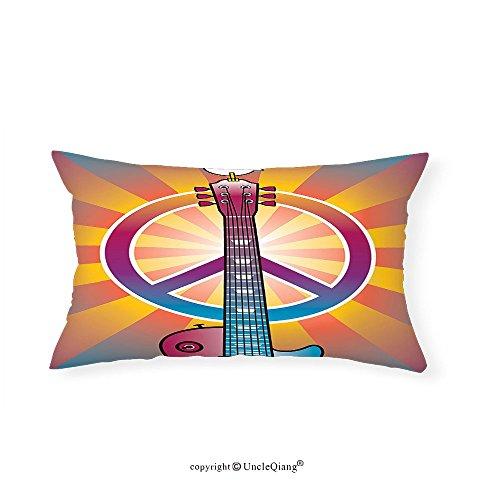 VROSELV Custom pillowcases1960s Decor Colorful Illustration of Guitar Peace Symbol and Dove Dedicated to the Woodstock Artsy Tribute Bedroom Living Room Dorm Decor - Atlanta To Woodstock
