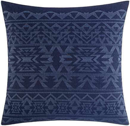 Eddie Bauer Crescent Lake Collection 100 Cotton Aztec Design Decorative Throw Pillow Sham, Zipper Closure, Easy Care Machine Washable, 20 x 20 , Blue