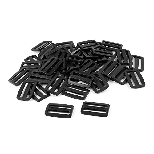 uxcell Hard Plastic Strapping Rectangle Buckle Repair Part 50pcs Black