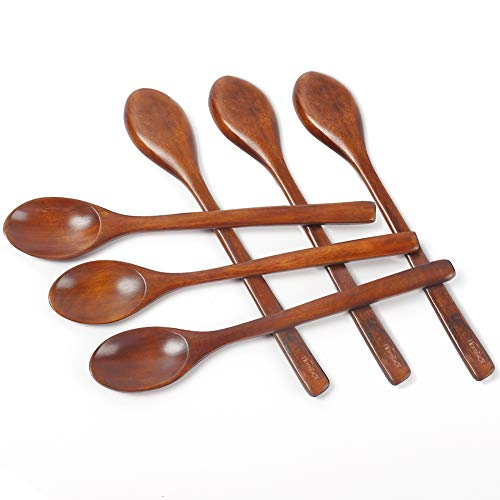 HANSGO Long Wooden Soup Spoons,6PCS 9 Inch Wood Soup Spoons,Wooden Teaspoonfor Eating Mixing Stirring,Long Handle Spoon Kitchen Utensil,Eco Friendly Table Spoon