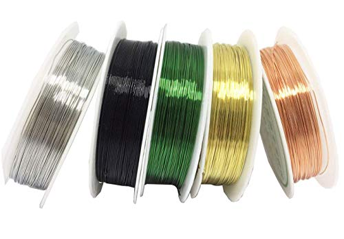 levylisa Silver/Gold/Black/Green/Rose Gold 5 Roll Beading Wire,Roll Copper Beading Wire,Copper Metal Wire Craft Jewelry Making Finding Crafts,Filigree Wire, Jewellery Wire,Enameled Copper Wire ()