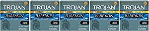 Trojan Condom Sensitivity Bareskin OfHKT Lubricated - 24 Count (5 Pack)