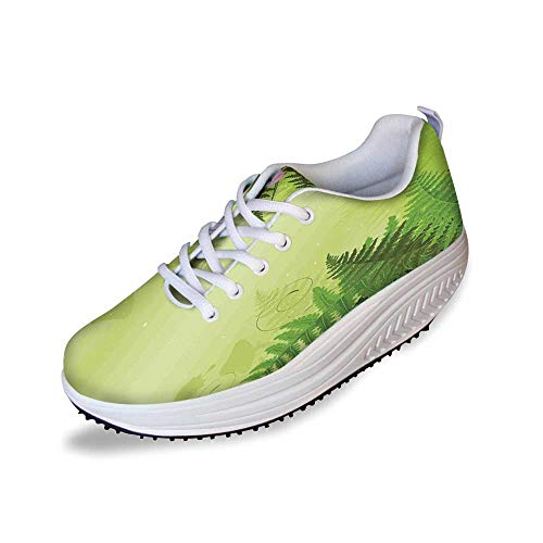 Mushroom Decor Stylish Shake Shoes,Magic Landscape with Mushrooms and Flowers in The Fresh Forest Ferns Cartoon Print for Women,6