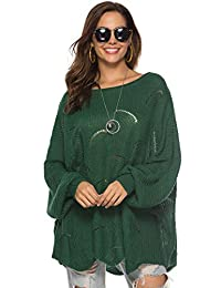 Carprinass Women's Hollow Out Oversized Sweaters Tops Sexy Pullover Kniwear
