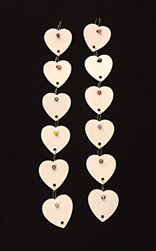 - 12 White Painted Wooden Hearts with Wire Hanger for Birthday Boards - Ready to Use