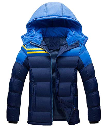 Men's Winter Down Jacket Hooded Coat Long Sleeve Thick Warm Leisure Clásico Outdoor Quilted Jacket Down Coat Outerwear Boy Blau