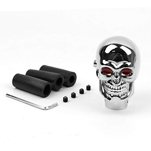 Generic Universal Car Gear Shift Knob Chrome Red LED Skull Lights Manual Lever Stick