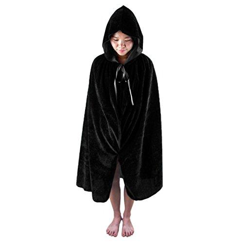 [SUNYIK Black Halloween Costumes Cape Hooded Cloak for Kids Boys Girls S] (Cape Velvet Child Costumes)