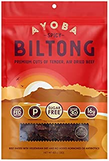product image for Ayoba Spicy Biltong - Grass Fed, Keto and Paleo Certified Air-Dried Beef Snack - Better Than Jerky Tender Steak Cuts - Whole 30 Approved, No Sugar, Gluten Free, No Nitrates (4 Ounce)