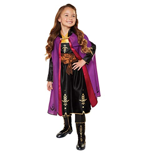 Disney Frozen 2 Anna Adventure Girls Role-Play Dress with Rich Violet Travel Cape, Featuring Intricate Belt Design & Artistic Dress Trim - Fits Sizes 4-6X, For Ages 3+