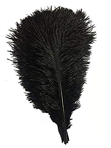 CENFRY 100pcs Ostrich Feathers 16-18inch Plumes for Wedding Centerpieces Home Decoration (Black) - Ostrich Plume Feathers