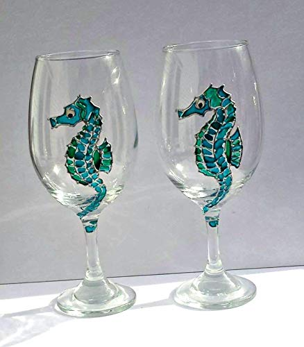 2 Seahorse Blue Green Hand Painted Wine Glasses Set