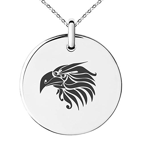 - Tioneer Stainless Steel Tribal Eagle Small Medallion Circle Charm Pendant Necklace