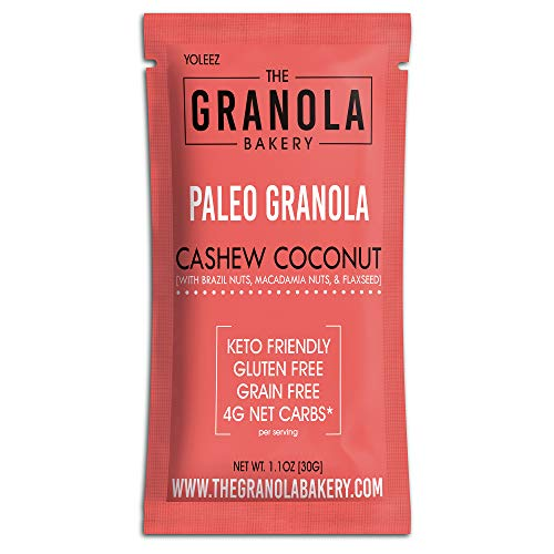 Granola Bakery - Coconut Cashew Paleo Granola - 4g Net Carb, 10 Snack Packets - Grain Free Keto Cereal, Gluten Free, Low Carb, Diabetic Friendly Snacks