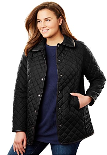 Women's Plus Size Light Quilted Snap-Front Jacket Black,24 ()