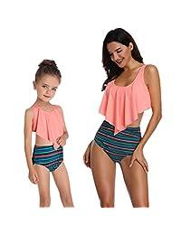 TiTCool Mother Girl Swimwear High Waisted Family Matching Swimsuits Baby Girls Bikini Swimsuit Set