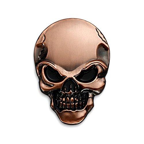 Bumper Stickers, Decals - 3D Metal Skull Emblem Sticker Decal Logo Car Motorcycle Sticker - 3D Car Decals - Stickers For Motorcycles - Car Emblem Stickers - Bronze