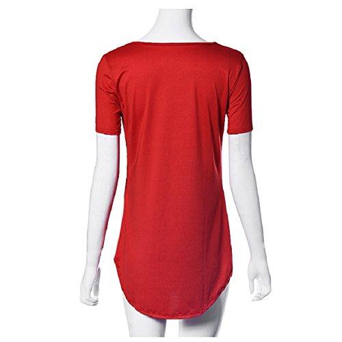 Lookatool Tops Des Femmes Côté À Manches Courtes Fente Partie T-shirt Décontracté Mini Robe Rouge