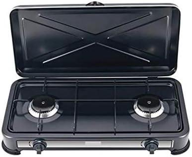 Cocina a gas GLP 2 fuegos hornillo camping portátil con tapa cocina