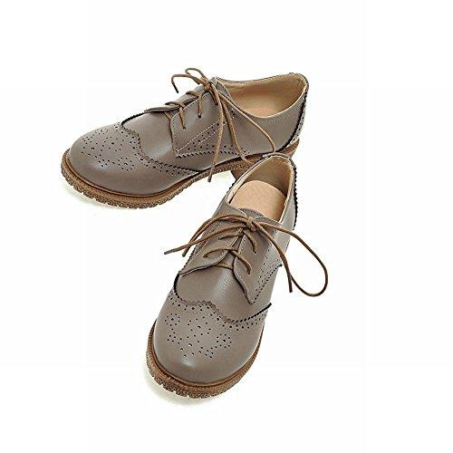Carolbar Scarpe Da Donna Vintage Oxford Stile Retrò Con Lacci E Scarpe Stringate Basse Comfort Grigio