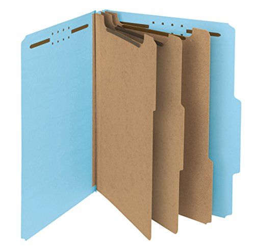 (Smead 100% Recycled Pressboard Classification File Folder, 3 Dividers, 3