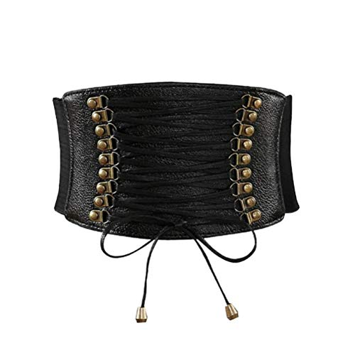Womens PU Leather Belt High Waist Cincher Belt Corsets for Waist Training Wide Belt -