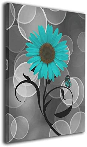 Kingsleyton Butterfly Teal Gray Sunflower Modern Painting Oil Hand Painting Wall Art On Canvas Abstract Artwork Framed Hanging Wall Decoration 16 x20