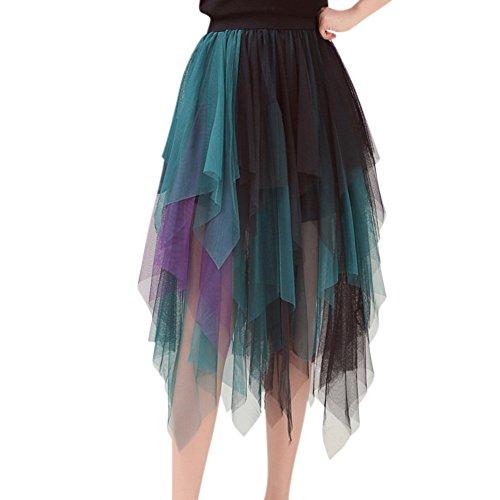 ELINKMALL Women Summer Mesh Elastic Waist Irregular Hem Tulle Midi Skirt (M, Blue)