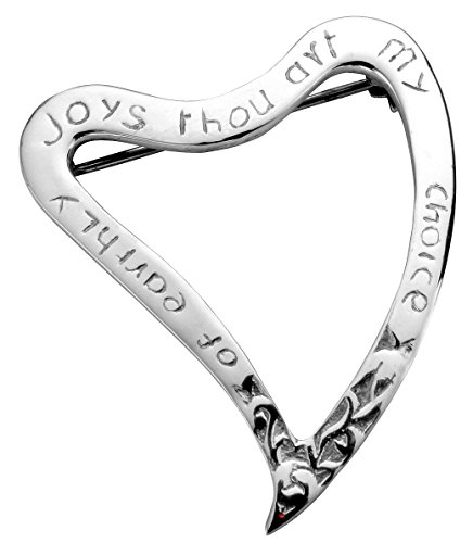 Broche traditionnelle Luckenbooth écossais Sterling Silver Heart avec le message affectueux - 40mm