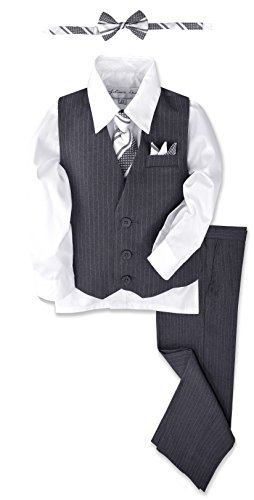 Johnnie Lene JL40 Pinstripe Boys Formal Dresswear Vest Set (24 Months, Gray/White)