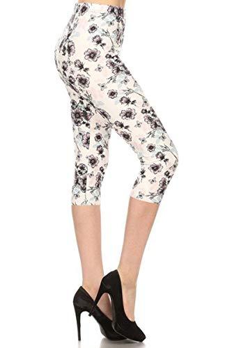 - S735-CA-OS Plum Blossoms Capri Print Fashion Leggings, One Size