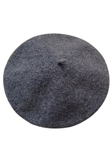 Clothink Wool Beret Hat Classic Solid Color French Beret Gray ()