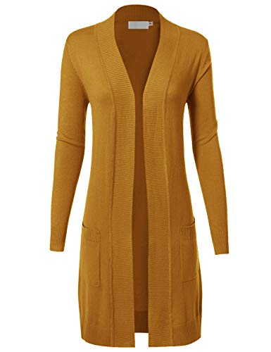 MAYSIX APPAREL Womens Long Sleeve Long Line Knit Sweater Open Front Cardigan W/pocket, Msg9-mustard, Large