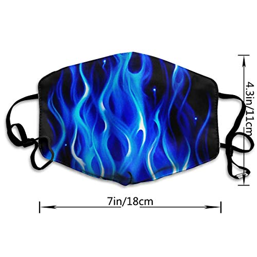 AAA.Yongfugui Blue Flame 3D Printing Unisex Anti-Dust Mouth Mask Face Mask,Anti Bacterial Washable,Reusable Masks Warm Windproof Mask Fashion Outdoor Face Masks with Design