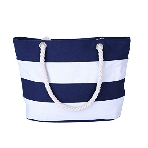 Canvas White Stitching Purse Beach Holiday Tote Stylish and Blue Shoulder Flada Bag Stripe Zipper OHqww