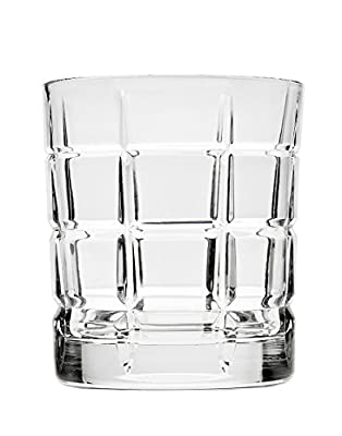 Godinger Plaid Double Old Fashioned Glasses, Set of 4, Silver