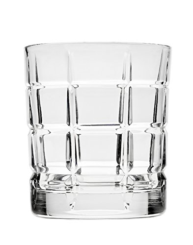 Godinger Plaid Double Old Fashioned Glasses, Set of 4, Silver - Old Double Fashioneds Four