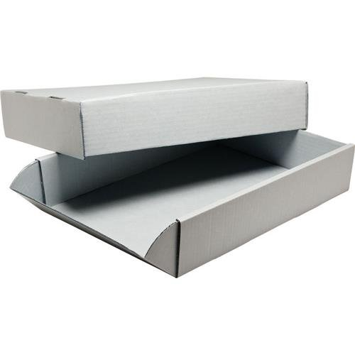 Print File Acrylic-Coated Corrugated Archival Box, 20.5x16.5x3, Gray
