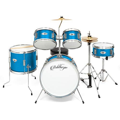 Ashthorpe 5-Piece Complete Kid's Junior Drum Set with Genuine Brass Cymbals - Children's Advanced Beginner Kit with 16'' Bass, Adjustable Throne, Cymbals, Hi-Hats, Pedals & Drumsticks - Blue by Ashthorpe (Image #2)