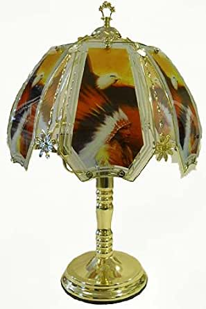 Native American With Eagle Touch Lamp With Polished Brass